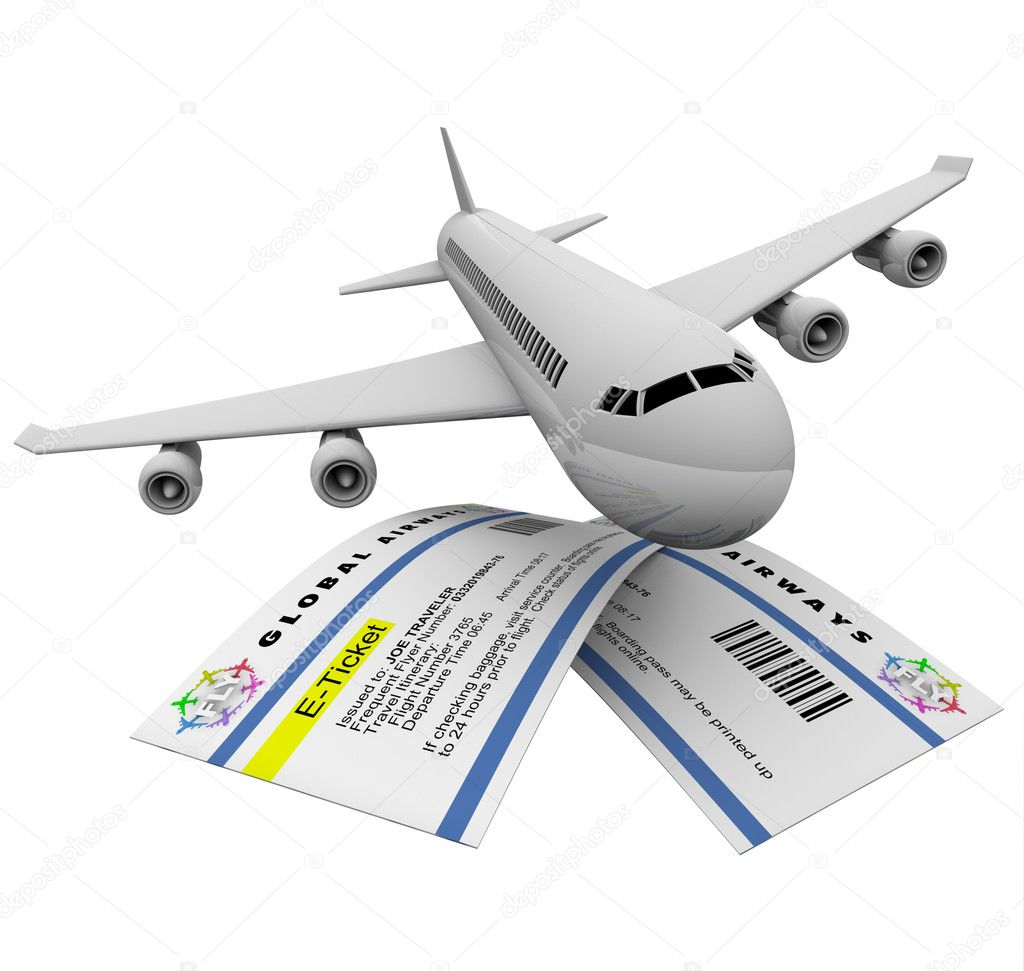 Two e-tickets and an airplane, symbolizing air travel — Stock Photo #4439990