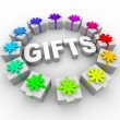 Gifts - Presents in Circle Around Word — Stock Photo