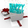 Present - Happy Birthday Gift Box - Stock Photo
