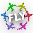 Fly - Colorful Airplanes Around Word - Stock Photo
