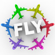 Fly - Colorful Airplanes Around Word — Stock Photo
