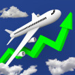 Airplane in Flight Along Green Arrow - Stock Photo