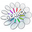 Search - Magnifying Glasses in Circle - Stock Photo