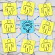 Teamwork to Think of Idea - Sticky Notes - Stock Photo