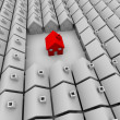 One Red House Stands Alone — Stock Photo