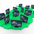 Stock Photo: Many HDTV Televisions on USMap