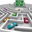 Find Your Way - Cars Lost in Maze - Stock Photo