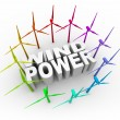 Wind Power - Words and Towers — Stock Photo