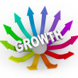 Growth Word and Colorful Arrows - Stock Photo