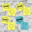 Royalty-Free Stock Photo: Change Vs Same - Sticky Notes