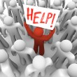 Person Holding Help Sign in Crowd — Stock Photo #4441128
