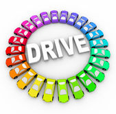 Drive - Many Colorful Cars in Circle — Stock Photo