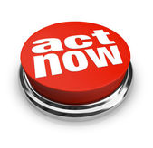 Act Now - Red Button — Stock Photo