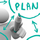 Drawing Plan Flowchart on Board — Stock Photo