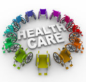 Wheelchairs in Ring Around Health Care Words — Stock Photo