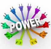 Power - Word Surrounded by Plugs — Stock Photo