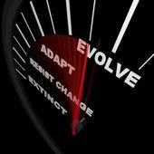 развиваться - спидометр отслеживает прогресс изменения — Стоковое фото