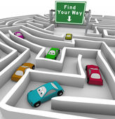 Find Your Way - Cars Lost in Maze — Stock Photo