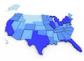 U.S. Population - Map of Most Populated States — Stock Photo