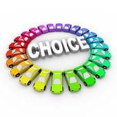 Choice - Colored Cars Around Word — Stock Photo