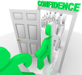 Stepping Through the Confidence Doorway — Stock Photo