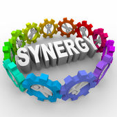 Synergy - in Gears Around Word — Stock Photo