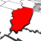 Illinois State Map - 3d Illustration — Stock Photo