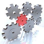 Many Gears Turning Together, One in Red — Stock Photo