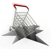 Shopping Cart Plunges Into Hole — Stock Photo