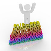 Person Celebrating Success - Atop Words — Stock Photo