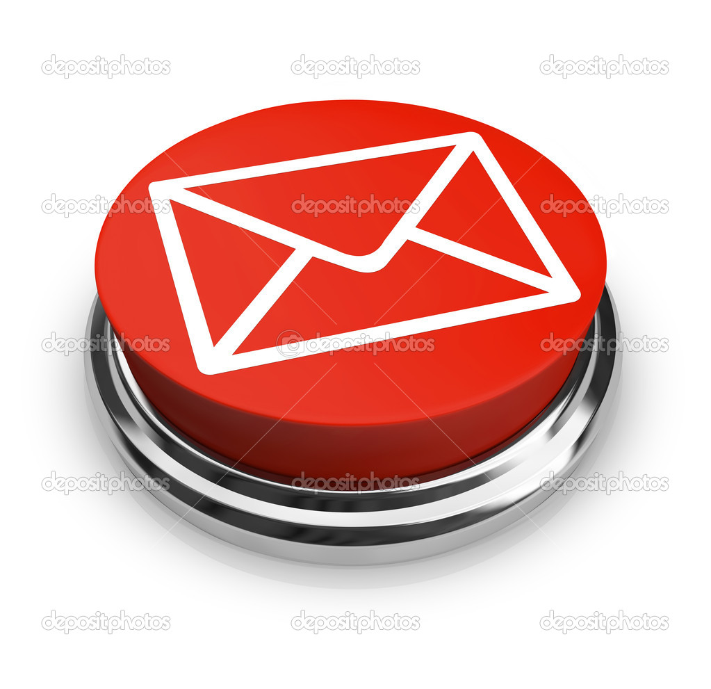 A red button with a symbol of an envelope on it — Stock Photo #4440372