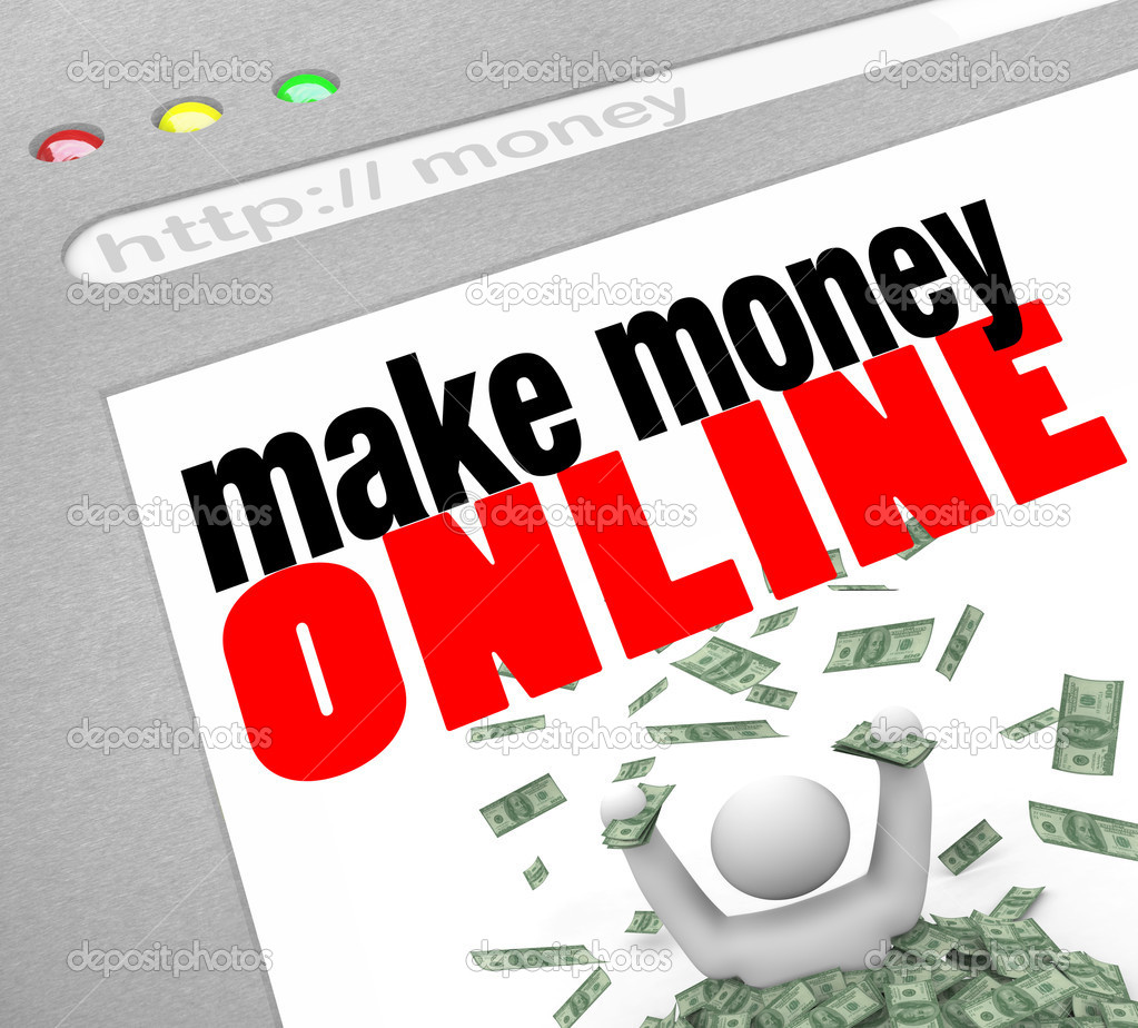 A web browser window shows the words Make Money Online and a person in pile of cash — Stock Photo #4440628