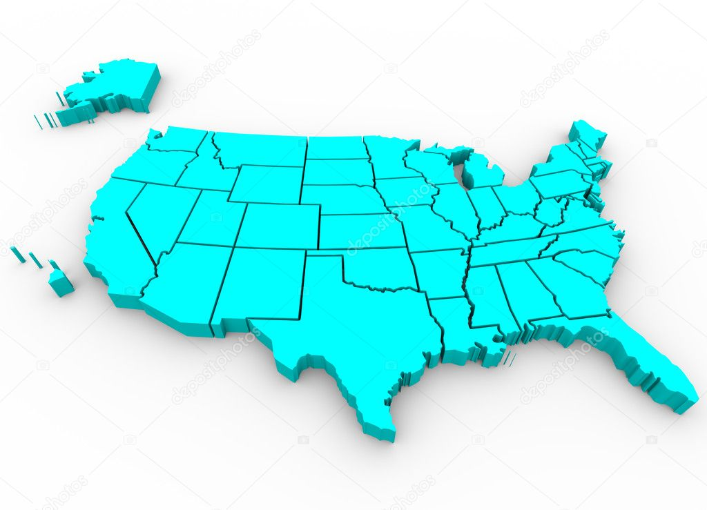 A 3d render of a map of the United States of America  Stock Photo #4441003