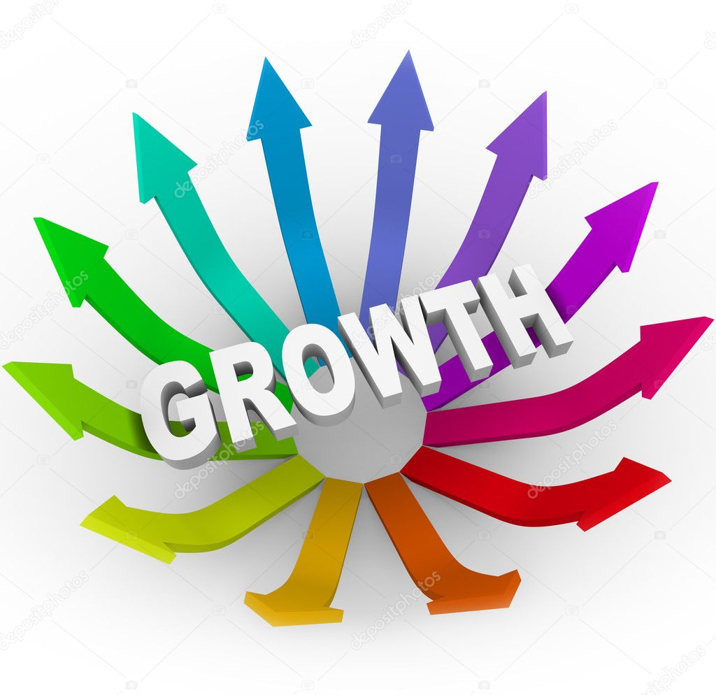 The word Growth surrounded by many colorful arrows — Stock Photo #4441034