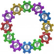 Stock Photo: Synergy - Circle of Turning in Gears