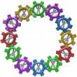 Synergy - Circle of Turning in Gears - Stock Photo