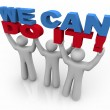 We Can Do It - 3 Lifting Words — Stock Photo