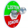 Listen Vs. Ignore - Toggle Switch - Stok fotoğraf