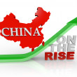 China on the Rise - Country Map on Arrow - Stock Photo