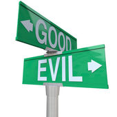 Good Vs Evil - Two-Way Street Sign — Stock Photo