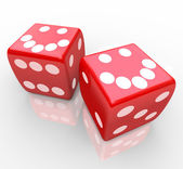 Smiley Faces on Red Dice — Stock Photo