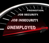 Unemployment - Words on Speedometer — Stockfoto