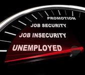 Werkloosheid - woorden op snelheidsmeter — Stockfoto