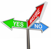 Yes No Maybe - 3 Colorful Arrow Signs — Stock Photo