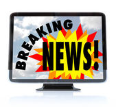 Breaking News - High Definition Television HDTV — Stock Photo