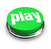 Play Word on Round Green Button — Stock Photo