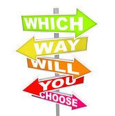 Frågor om pil tecken - vilken väg väljer du? — Stockfoto