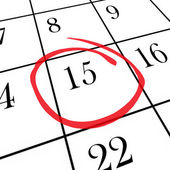 Monthly Calendar - 15th Day Circled — Stock Photo