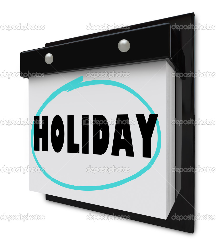 A wall calendar with tear-away pages, and the word Holiday — Stock Photo #4603138
