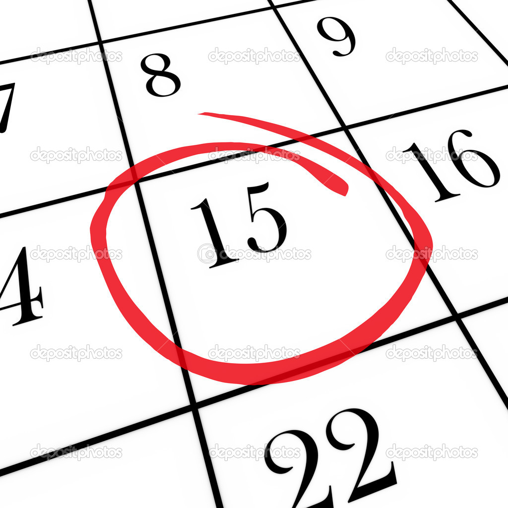 Monthly calendar 15th day circled stock image